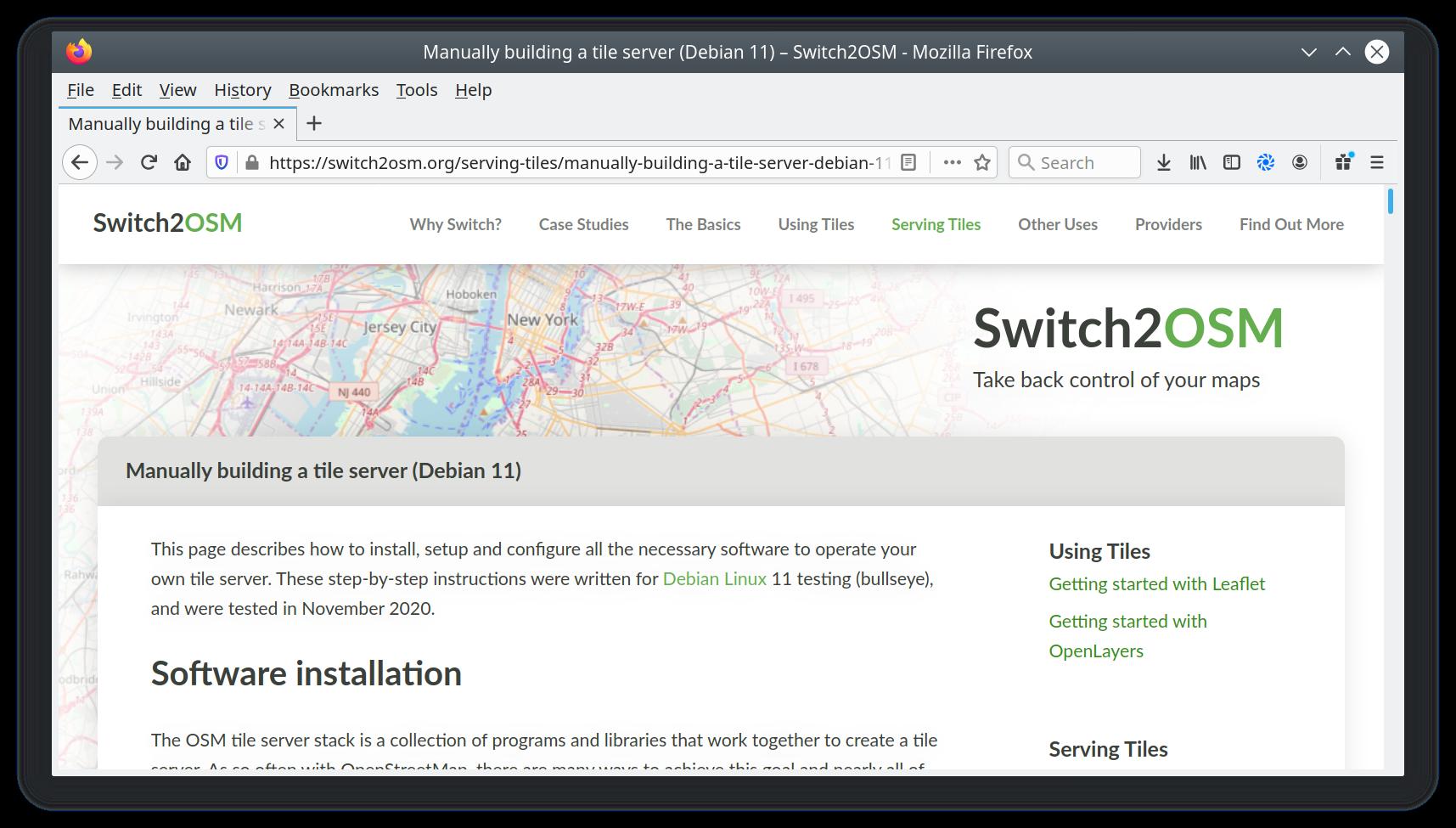 Screenshot of switch2osm page