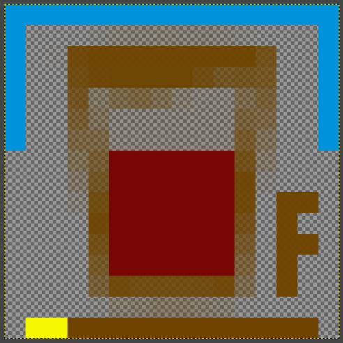 "pub icon with the first two pixels of the ""floor"" underline coloured yellow"